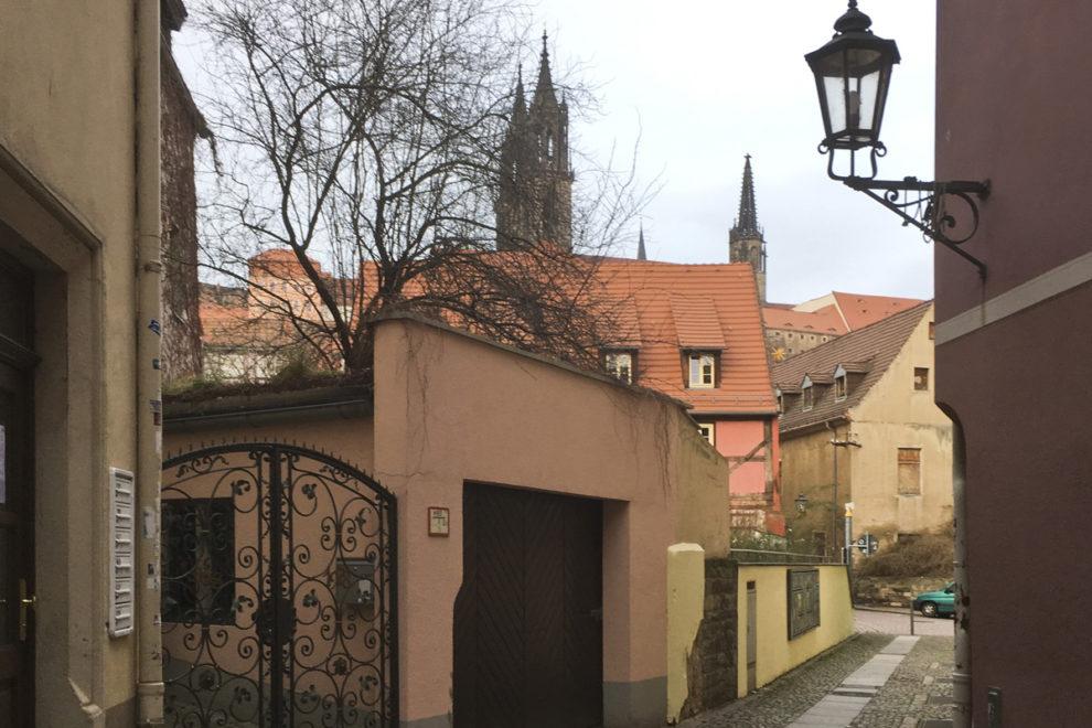 Blick zum Burgberg von Meißen