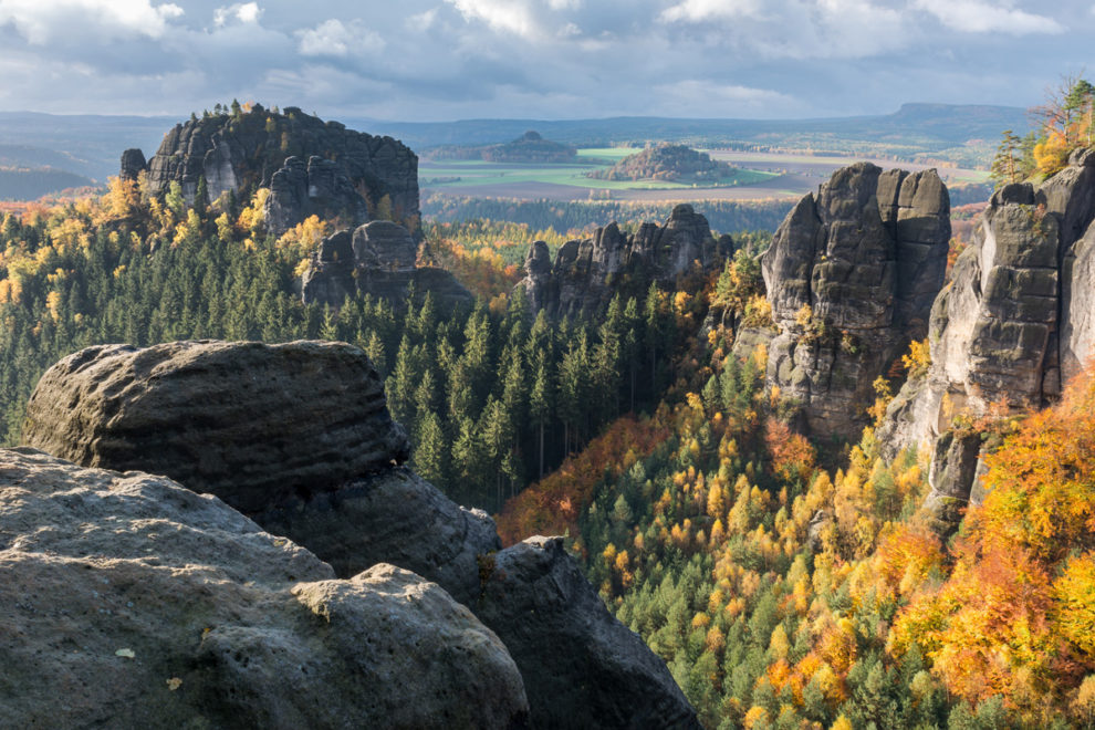Sächsische Schweiz: Felsblick zum Zirkelstein